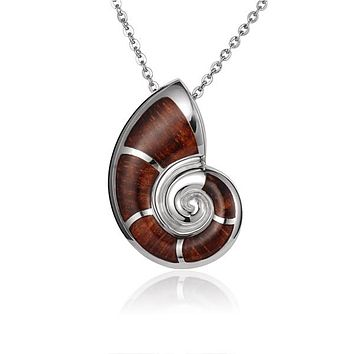 925 Sterling Silver Nautilus Shell with Koa Wood Inliad Pendant