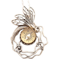 Sterling Dragonfly Necklace Sterling Silver Dragonfly Necklace Working Compass Necklace