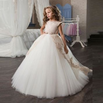 DF532 Elegant Pricess Style Ball Gown Flower Girl Dress Cap Sleeve With Lace First Communion Dresses For Girl Kids Prom Dress