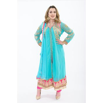 Tiffany Blue and Hot Pink Straight Anarkali Suit