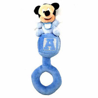 """disney parks 8"""" baby mickey mouse rattle plush new with tag"""