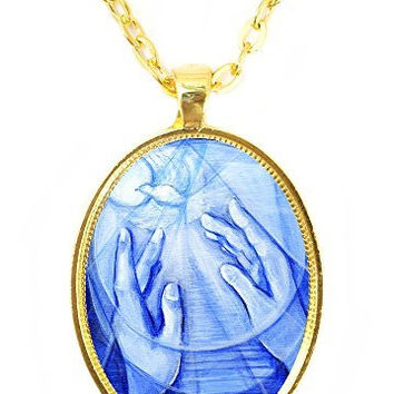 Peace Dove Healing Hands Huge 30x40mm Bright Gold Pendant with Chain Necklace