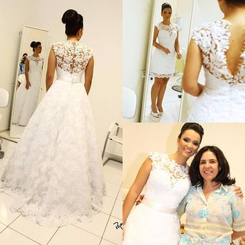 2016 Vintage Ball Gown Wedding Dresses High Neck Sleeveless Long Bridal Gowns Removable Skirt 2 in 1 Style robe de mariage