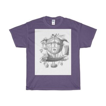 Heavy Cotton T-Shirt with Hot Air Balloon Flying Airship Art Print