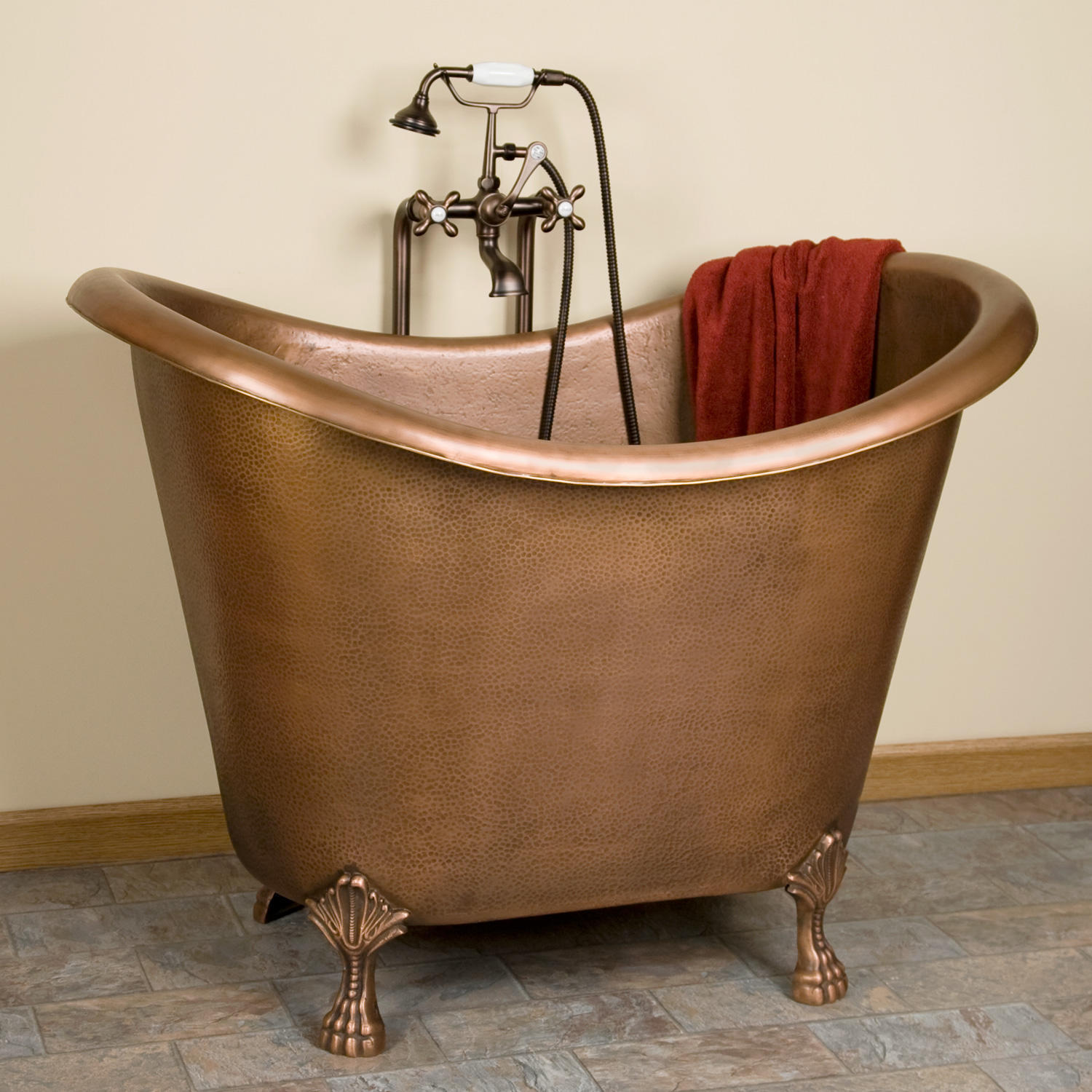 baby caleb hammered copper clawfoot tub from signaturehardware. Black Bedroom Furniture Sets. Home Design Ideas