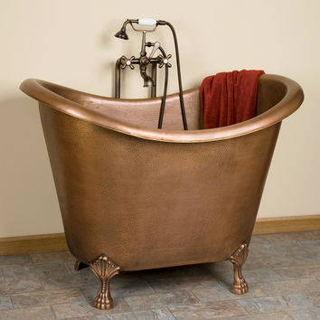 Baby Caleb Hammered Copper Clawfoot Tub - Bathroom