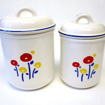 White Blue Primitive Flower Canisters Set of Two