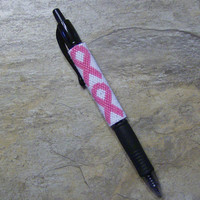 Cancer Ribbon Pen Wrap Hand Made Seed Beaded