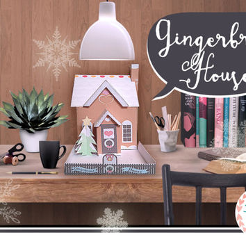 Printable Gingerbread House // Pop Up Ginger bread Home // Wintry Garden Christmas Tree // Xmas Home Decor // Unique Decorations // Kitch