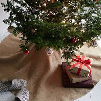 Popular Jute Burlap Christmas Tree Skirt, 60-diameter