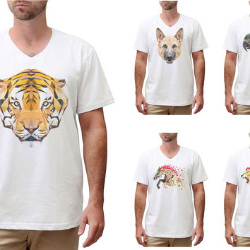 Men Animals in geometric pattern style Printed Cotton V-neck T-shirt MTS_02