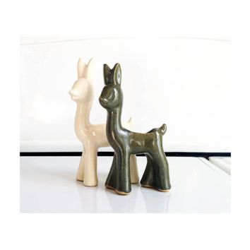 Pair of Vintage Ceramic Deer Planters / Green and White
