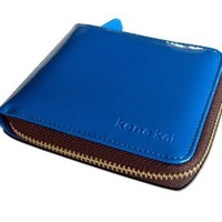 """DataSafe RFID Security """"Rio"""" High-Gloss Zippered Wallet, Small (Blue)"""
