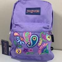 JanSport SuperBreak Backpack in Lavender with Hand Painted Paislies and Flowers