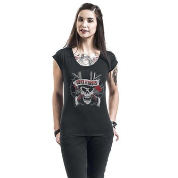 Summer T-shirt for Women Hard Rock Band Guns N' Roses GNR Skull Logo Print T-shirt Off Shoulder Women's Sexy Tops Female T-shirt