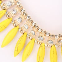 Yellow High Polish Metal Rhinestone Accent Dangle Stone Necklace