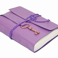 Light Purple Leather Journal - Leather Journal - Lined Paper - Travel Journal - Leather Bound Journal - Travel Journal - Wrap Journal -