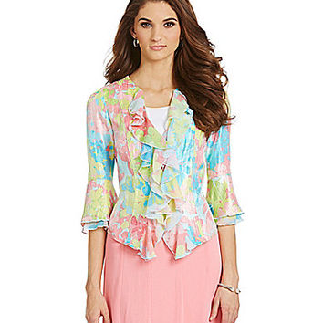 Ruby Rd. Petite Button-Front Blossoms-Print Crinkle Shimmer Jacket - R