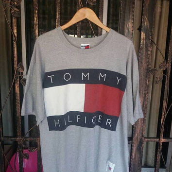On sale Vintage Tommy Hilfiger tee big flag spellout/made in usa/large/tommy sailing/tommy jeans/tommy girls