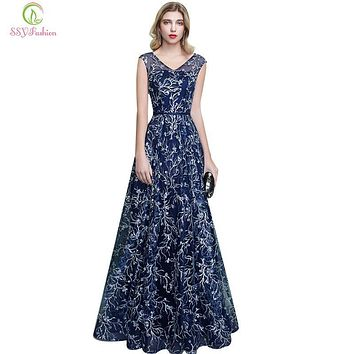 SSYFashion New Evening Dress Sexy V-neck Floor-length Blue Sequins Embroidery Long Prom Dress Bride Banquet Elegant Party Gowns