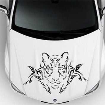 Tribal Tattoo Flaming Tiger Animal Cute Design Hood Vinyl Sticker Decals G12