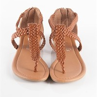 Braided Strapy Flip Flops - Tan at Lucky 21 Lucky 21