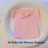 Baby Girl Shower Decorations Decor Pink Napkins 20