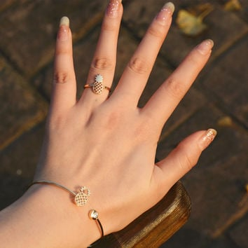 A Set of Pineapple Jewelry Shiny Accessory Stylish Strong Character Lovely Ring Bangle [9012881220]