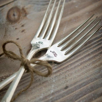 Mr. & Mrs. Vintage Silverplate  Dinner or Dessert Forks - Handstamped - Wedding Reception - Shabby Chic