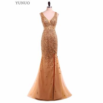 Vestido Longo Gold Crystal Prom Dresses Sexy Spaghetti Strap 2017 Robe De Soiree Slit Long Formal Gowns Real Photo Evening Dress