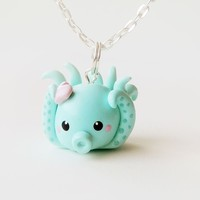 Sweet Little Turquoise Blue Octopus Necklace