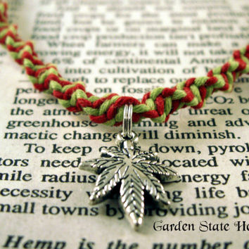 Marijuana Necklace, Hemp Necklace, Cannabis Necklace, 420 Necklace, Pot Leaf Necklace, Lime Green Red Hemp Necklace, Marijuana Leaf Jewelry