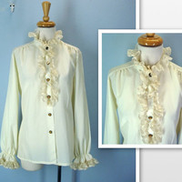 Victorian Blouse / 1960's Vintage Cream Ruffled Lace Blouse