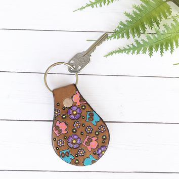 Owl and Flowers Key Fob - Hand Tooled and Painted