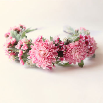 Pink Flower crown, Floral head wreath, Flower hair crown, Whimsical bridal crown, Pink flower Bridal head piece, Crown - PIROUETTE