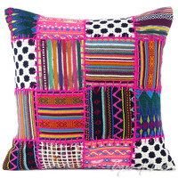 """Pink Moroccan Dhurrie Decorative Throw Pillow Cushion Cover - 16"""""""