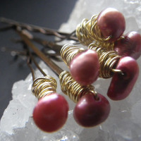 Cranberry Pink- Freshwater Pearls- Set of 6- Hair Fashion Accessory- Thanksgiving- Holiday Stocking Stuffer- Gift Idea- CassieVision