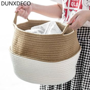 DUNXDECO Modern Classical Big Stripe Cotton Thread Cylinder Cloth Storage Basket Multifunction Home Office Organize