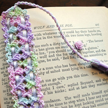 Crochet lace bookmark with a tassel and ribbon, Egyptian cotton spring pastels, light purple rose charm