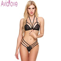 Avidlove Women Sexy Lingerie Set Hollow Out Floral Lace Bra and Thong Brief Sleepwear Unlined Halter Back Bra Buckle Babydolls