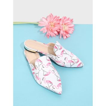 Flamingo Print Pointed Toe Flats