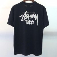 Stussy 2019 Limited Loose Cotton Men's Round Neck Half Sleeve T-Shirt Black