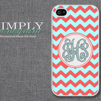 iphone 4s case - plastic or silicone rubber - light blue red chevron monogram