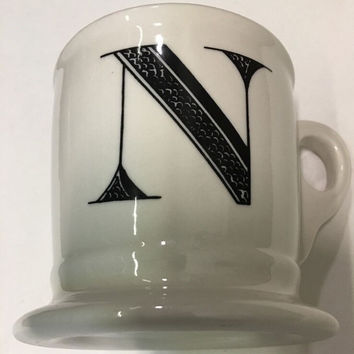 Anthropologie Monogram Ceramic Coffee Cup Mug Personalized Name Letter Initial N