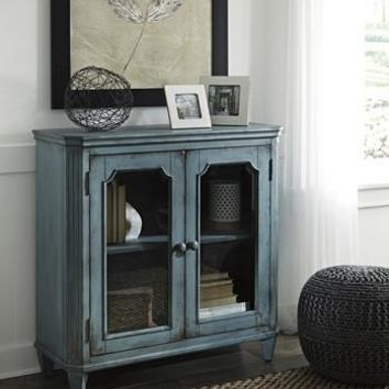T505-742 Mirimyn Door Accent Cabinet Antique Teal Free Shipping!