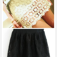 Fashion Sexy Lace Embroidery Lace Mini Tiered Short Skirt Under Safety Pants Shorts Free Size