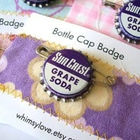 Vintage Grape Soda Bottle Cap Badge by WHIMSYlove on Etsy