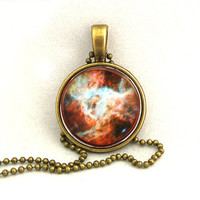 10% SALE - Necklace Copper Heart of the Tarantula Nebula Galaxy Jewelry Universe Space Pendant Necklaces Gift