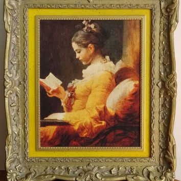 Fragonard Print Young Girl Reading in Yellow Dress in Ornate Frame of Resin
