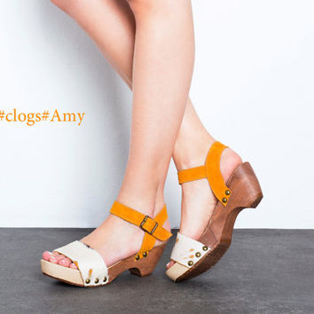 Clogs. wooden Clogs, Summer shoes. Amy wooden clogs. A wooden clog, open sandals, made of soft leather, heel 5.5 cm, light and chic.